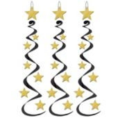 Black & Gold Star Whirl Decorations-3 Per Unit