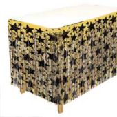 Gold & Black Star Fringed Table Skirt