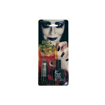 Black Nail Polish and Lipstick Kit