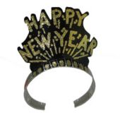 New Year Black & Gold Tiaras-12 Pack