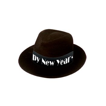 Happy New Year   Black Velour Fedora