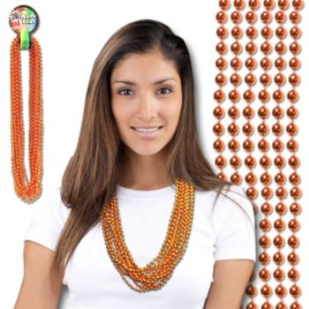 "Orange Metallic   7mm 33"" Beads"