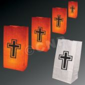 Religious Cross Luminary Bags - 50 Pack