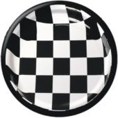 "Black And White Checkered 8 3/4"" Plates - 25 Pack"