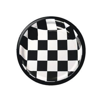 """Black & White Check   8 34"""" Plates"""