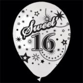 "White Sweet 16 Birthday 14"" Balloons - 25 Per Unit"