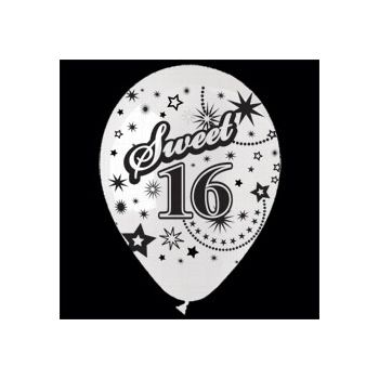 White Sweet 16 Birthday Balloons - 14 Inch, 25 Pack