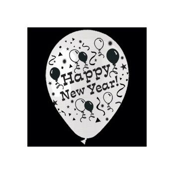 White Happy New Year Latex Balloons -14 Inch, 25 Pack