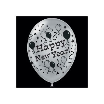Silver Happy New Year Latex Balloons - 14 Inch, 25 Pack