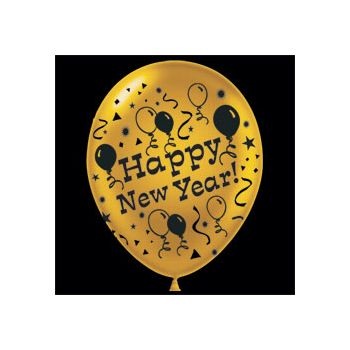 Gold Happy New Year Latex Balloons - 14 Inch, 25 Pack