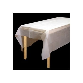 WHITE FROSTED   PLASTIC TABLE COVER