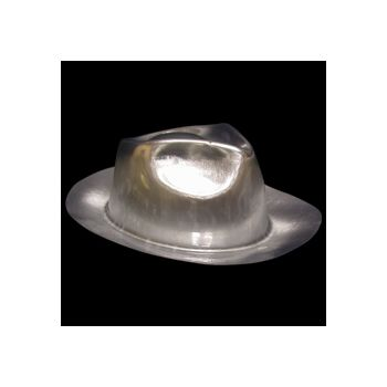 Silver Plastic Fedoras - 12 Pack