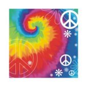 Woodstock Tie Dye Beverage Napkins - 16 Pack