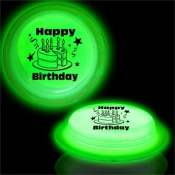Green Happy Birthday Circle Glow Shape - 3 Inch