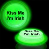 Kiss Me I'm Irish Green Glow Badge-3""