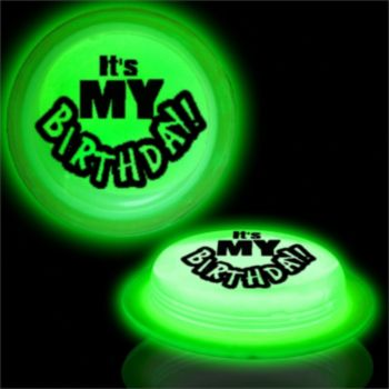 Green It's My Birthday Circle Glow Shape - 3 Inch