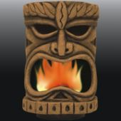 Flaming Tiki Head