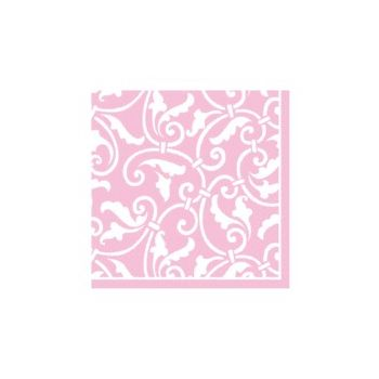 PINK SCROLL   BEVERAGE NAPKINS