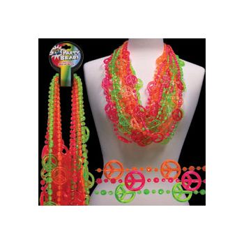 Neon Peace Sign Bead Necklaces - 36 Inch, 12 Pack