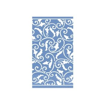 BLUE SCROLL   GUEST TOWELS