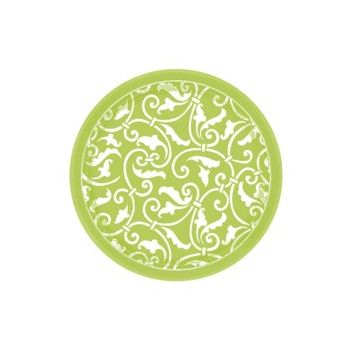 "LIME GREEN SCROLL   7"" PLATES"