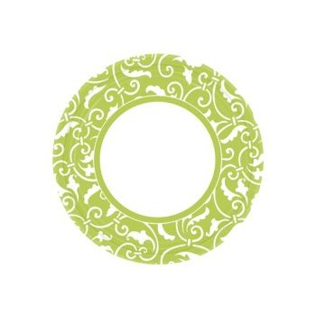 "LIME GREEN SCROLL   9"" PLATES"