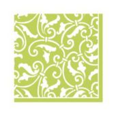 Lime Green Scroll Beverage Napkins - 16 Pack