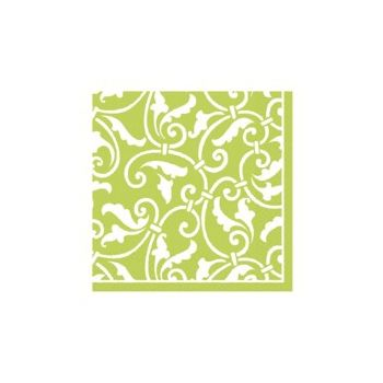 LIME GREEN SCROLL   BEVERAGE NAPKINS