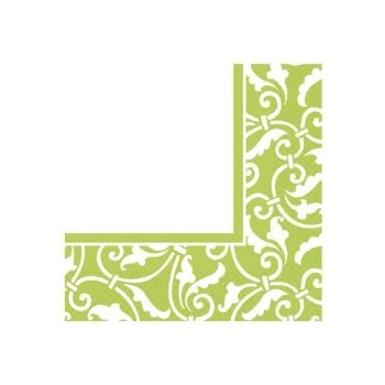 LIME GREEN SCROLL   LUNCHEON NAPKINS