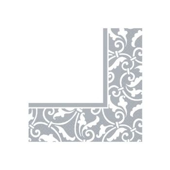 SILVER SCROLL   LUNCHEON NAPKINS
