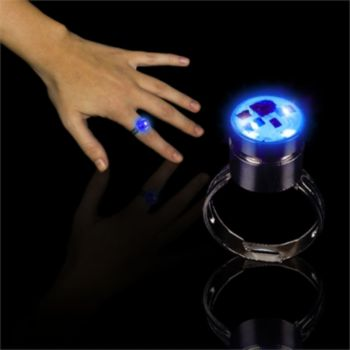 Blue LED Light Up Rings - 12 Pack