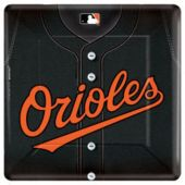"Baltimore Orioles 10"" Square Plates - 18 Pack"