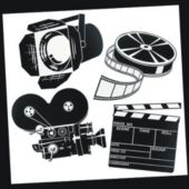 Movie Set Black & White Cutouts-4 Per Unit