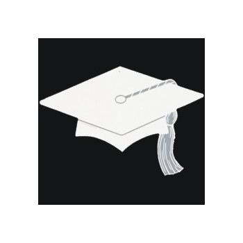 WHITE GRADUATION   CAP CUTOUT