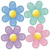 Retro Flowers Cutouts-4 Per Unit