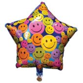 Happy Birthday Smiley Face Star Birthday Balloons - 18 Inch, 10 Pack