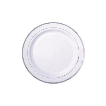 "SILVER TRIM   7.5"" WHITE PLATES"