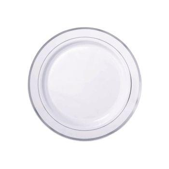 "SILVER TRIM   10"" WHITE PLATES"
