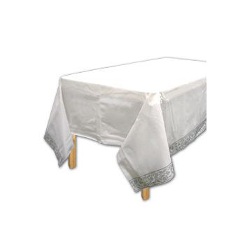 WHITE TABLE COVER   SILVER TRIM