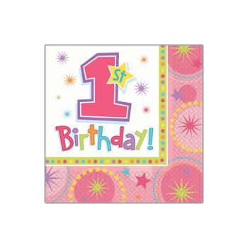 1st BIRTHDAY PINK  BEVERAGE NAPKINS