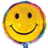 Tie Dye Happy Face Metallic Balloon - 18 Inch
