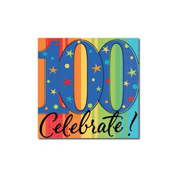 CELEBRATE 100   BEVERAGE NAPKINS