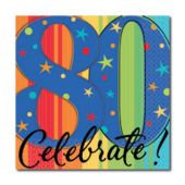 Celebrate 80 Beverage Napkins - 16 Pack