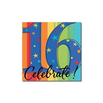 CELEBRATE 16   BEVERAGE NAPKINS