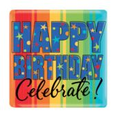 "Celebrate Birthdays 7"" Square Plates - 8 Pack"