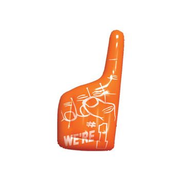 Orange Inflatable #1 Hands - 16 Inch, 12 Pack