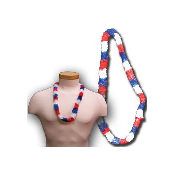 Red, White, and Blue Plastic Leis - 36 Inch, 12 Pack