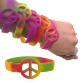Peace Sign Tie Dye Bracelets - 12 Pack