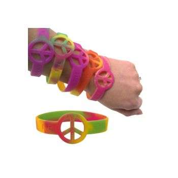 PEACE SIGN   TIE DYE BRACELETS