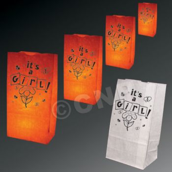 It's a Girl Luminary Bags - 50 Pack